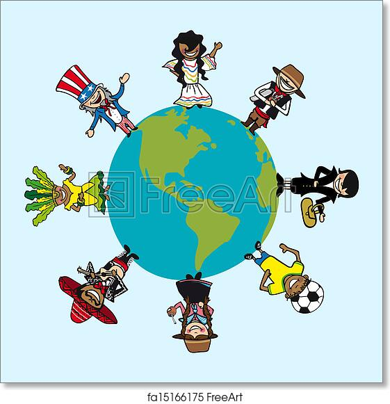 Free art print of Diversity people cartoons over world map
