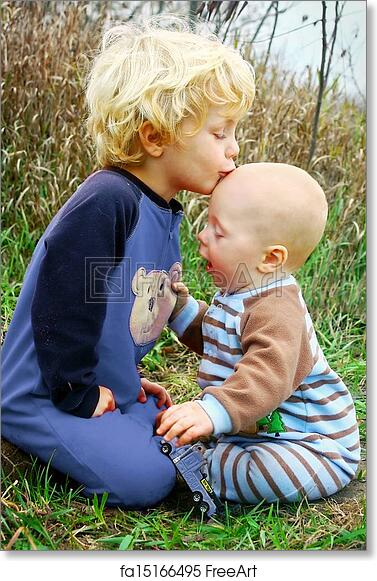 Free art print of Child Kissing Baby Brother