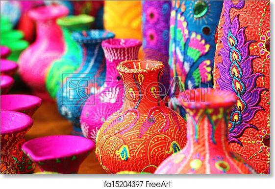 Free Art Print Of Colorful Artistic Pots Or Flower Vases In Vibrant Colors