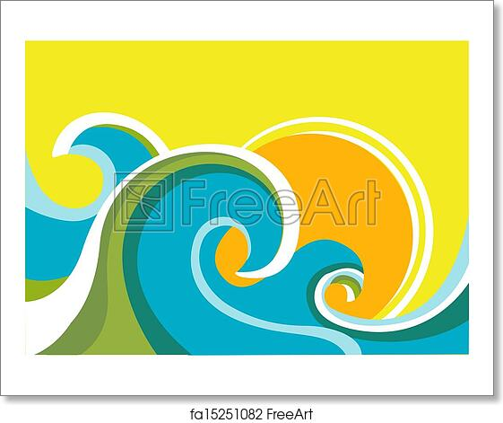 Free Art Print Of Nature Seascape Poster With Sea Waves And SunVector Color Background