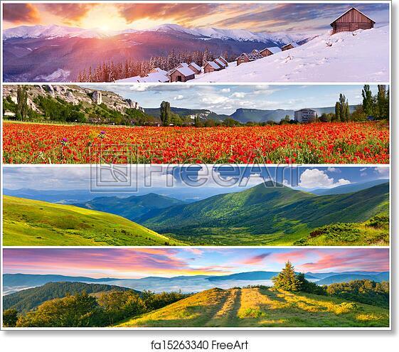Free art print of Set of the 4 seasons landscape for banners   FreeArt    fa15263340 - Free Art Print Of Set Of The 4 Seasons Landscape For Banners