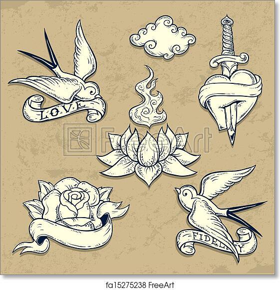 Free Art Print Of Set Of Old School Tattoo Elements With Skulls Set