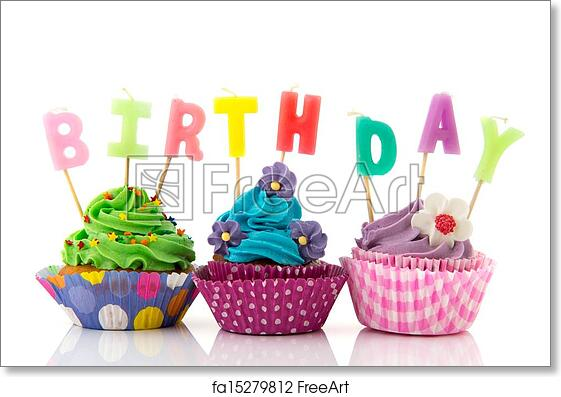 Free Art Print Of Birthday Cupcakes Colorful With Candles Isolated Over White Background