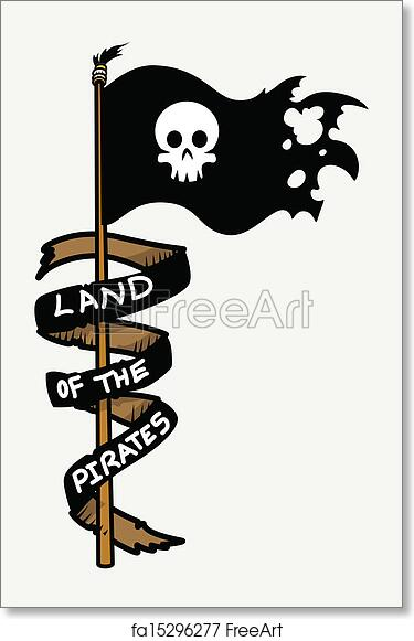 picture about Pirate Flag Printable called No cost artwork print of Land of The Pirates - Flag Vector