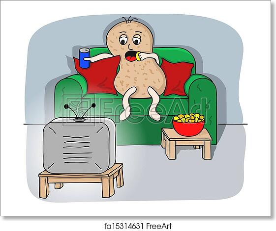 Vector illustration of a couch potato watching tv