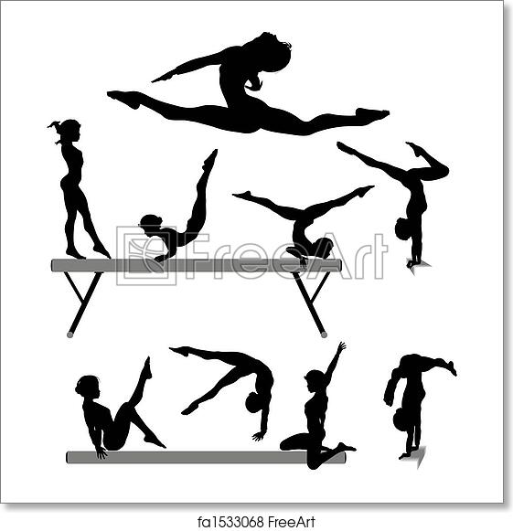 free art print of female gymnast silhouette balance beam gymnastics exercises