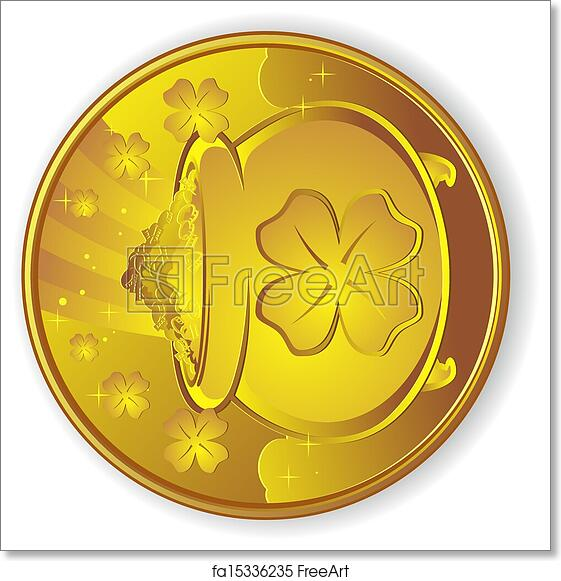 Free art print of Lucky Gold Coin Cartoon