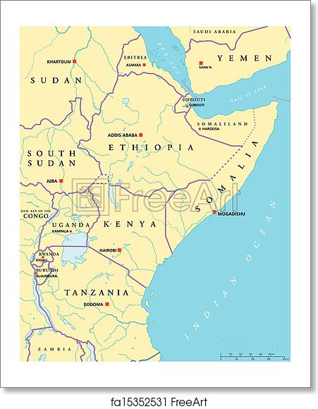 Map Of Africa Political.Free Art Print Of East Africa Political Map
