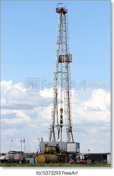 Free art print of Oil drilling rig machinery on field