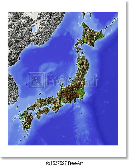 Free art print of Japan, shaded relief map