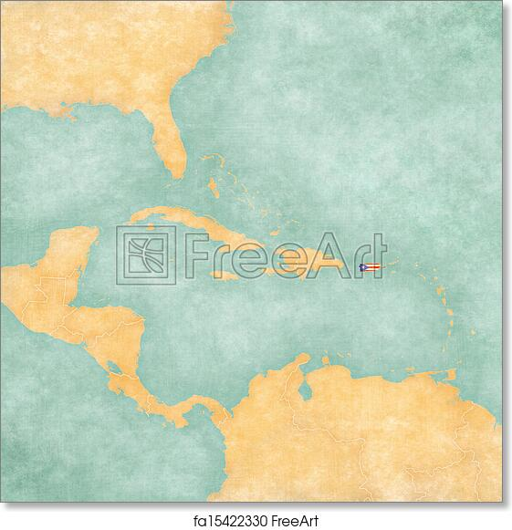 photo relating to Printable Map of Puerto Rico named Totally free artwork print of Map of Caribbean - Puerto Rico (Typical Collection)