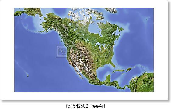 Free art print of north and central america shaded relief map free art print of north and central america shaded relief map gumiabroncs Image collections