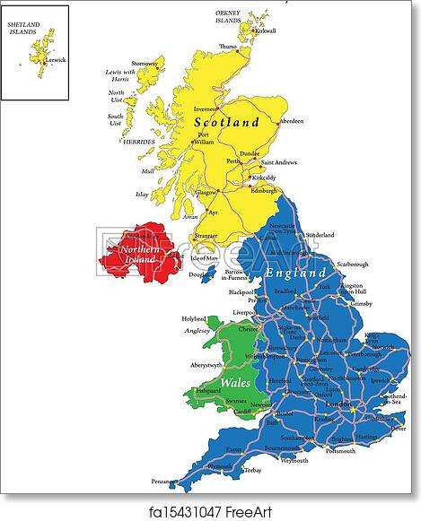 Free Art Print Of England Scotland Wales Map Highly Detailed Vector