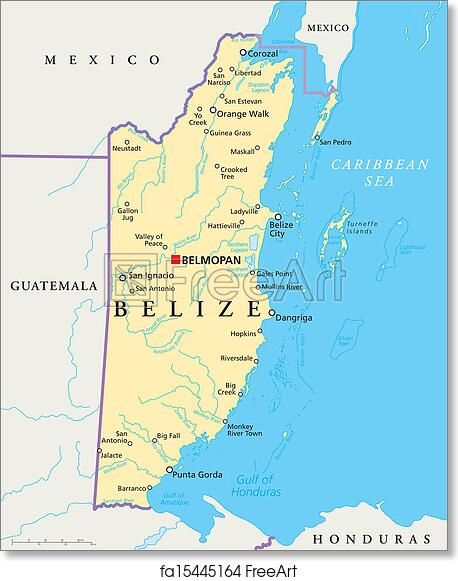 Belize Political Map.Free Art Print Of Belize Political Map Political Map Of Belize With