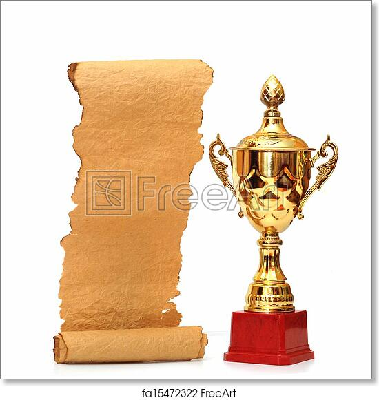 Free art print of Gold trophy cup with blank old paper scroll isolated on  white