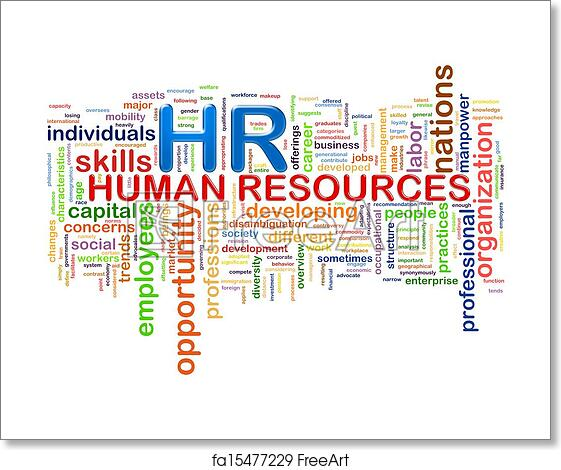 free art print of hr human resources word tags wordcloud