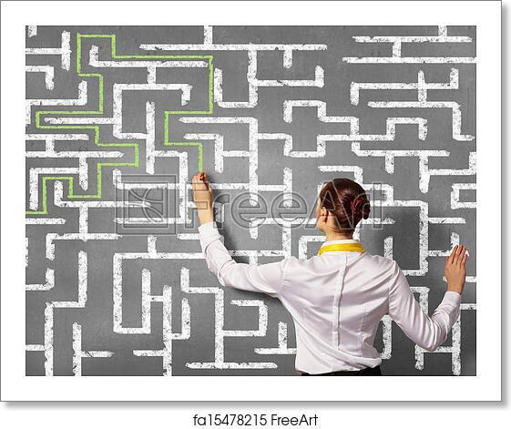 Free art print of Businesswoman solving maze problem