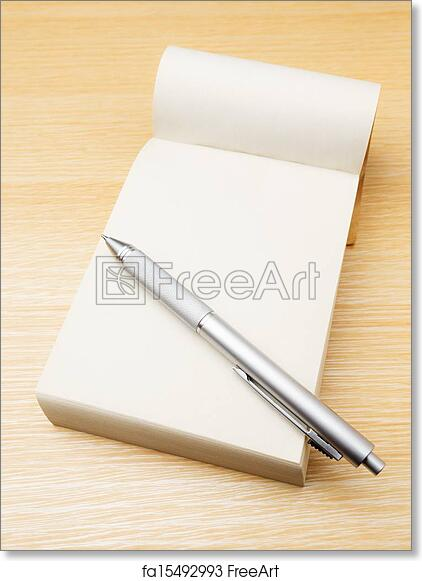 free art print of memo pad and pen freeart fa15492993