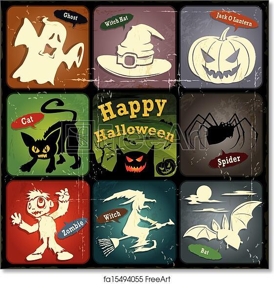 free art print of vintage halloween label design vintage halloween