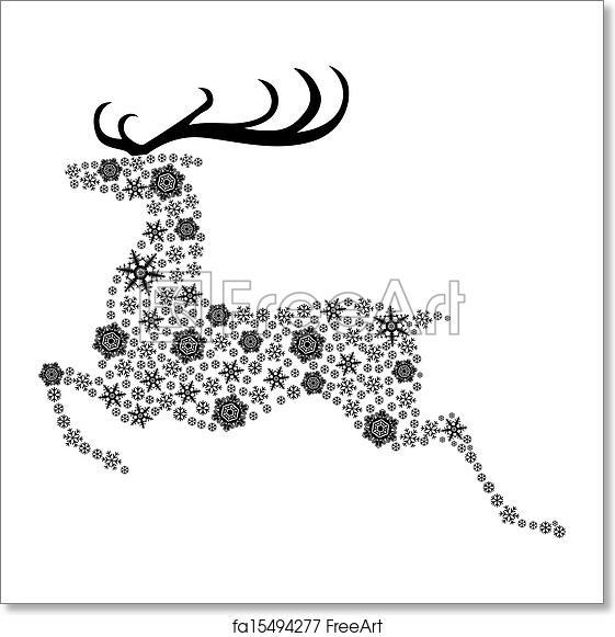 Christmas Reindeer Silhouette.Free Art Print Of Christmas Reindeer