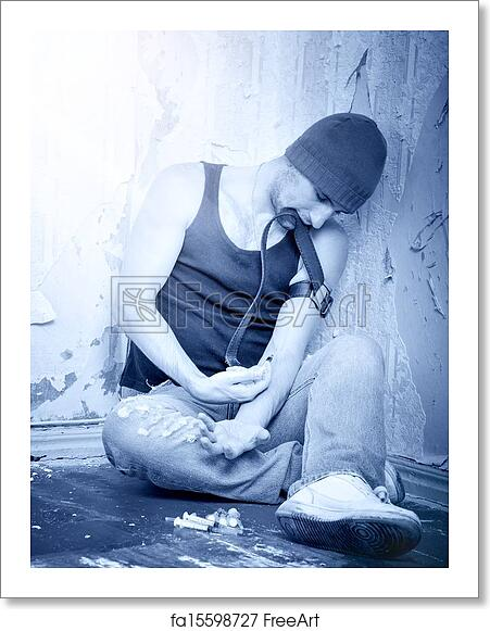 Free art print of Addict with syringes and with drugs