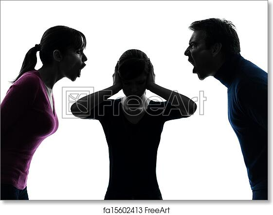free art print of family father mother daughter dispute screaming silhouette