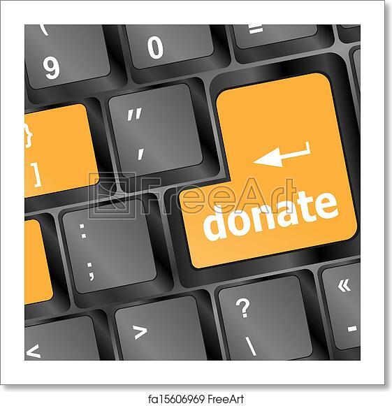 Free art print of Donate button on computer keyboard pc key