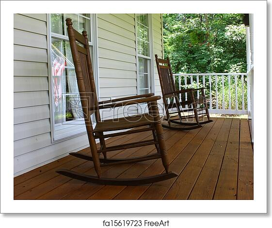 Free Art Print Of Two Brown Wooden Rocking Chairs On A