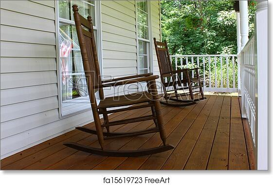 free art print of two brown wooden rocking chairs on a brown stained front porch durring a nice summer day