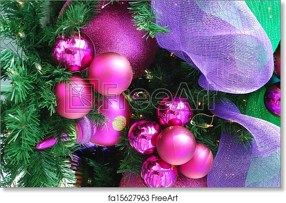 Christmas Bulbs.Free Art Print Of Fuschia Christmas Ornaments