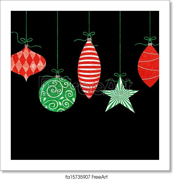 Whimsical Christmas Ornaments.Free Art Print Of Whimsical Hanging Christmas Ornaments
