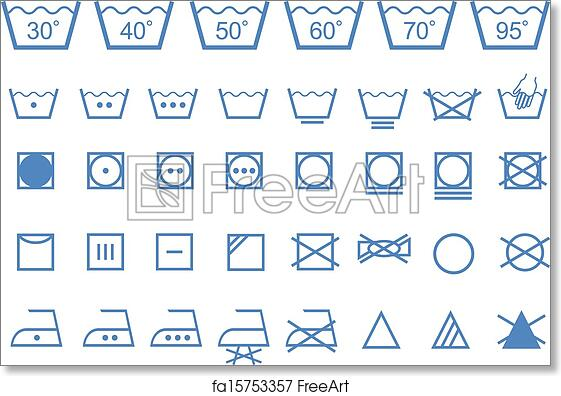 photograph relating to Printable Laundry Symbols named Absolutely free artwork print of Washing treatment symbols, vector icons