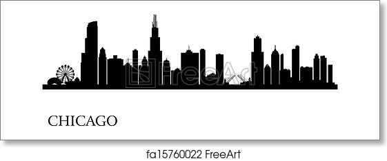 Free Art Print Of Chicago City Skyline Silhouette Background