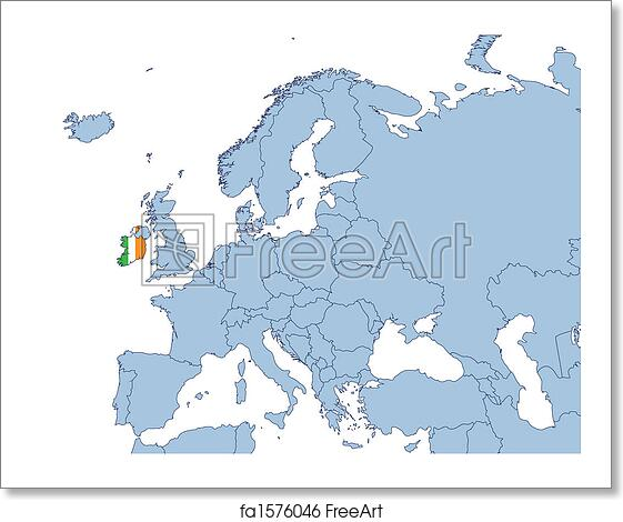 Free Art Print Of Ireland On Europe Map Ireland On Europe Map