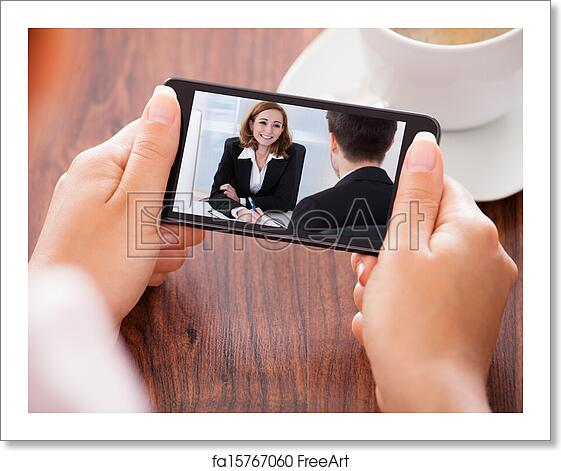 Free art print of Woman Video Conferencing On Mobile Phone
