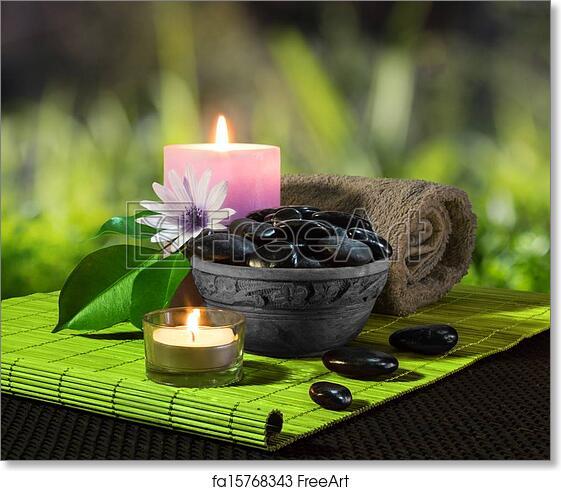 free art print of jar of black stones and candles jar of black