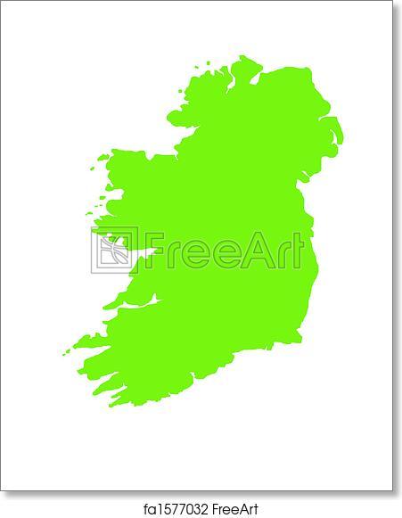 Print Map Of Ireland.Free Art Print Of Green Outline Map Of Ireland Green Outline Map Of