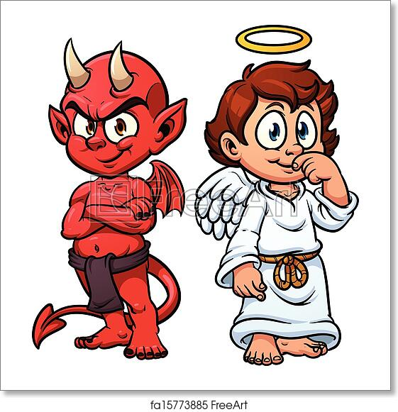 Free Art Print Of Angel And Devil Cartoon Angel And Devil Vector Clip Art Illustration With Simple Gradients Each On A Separate Layer Freeart Fa15773885