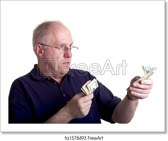 free art print of old bald guy in blue shirt handing out money an