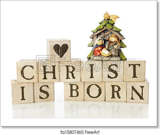 Free Art Print Of Christ Is Born Rustic Alphabet Blocks Arranged To