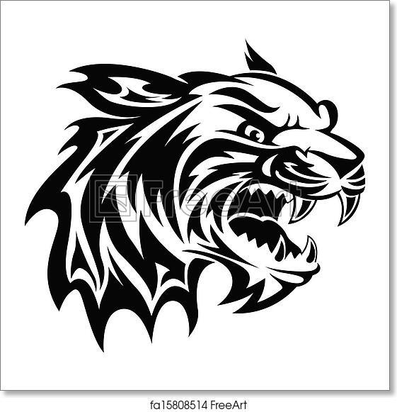 Free Art Print Of Tiger Head Tattoo Vintage Engraving Roaring