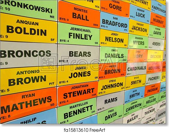 graphic relating to Printable Fantasy Football Draft Board referred to as Cost-free artwork print of Myth soccer draft board