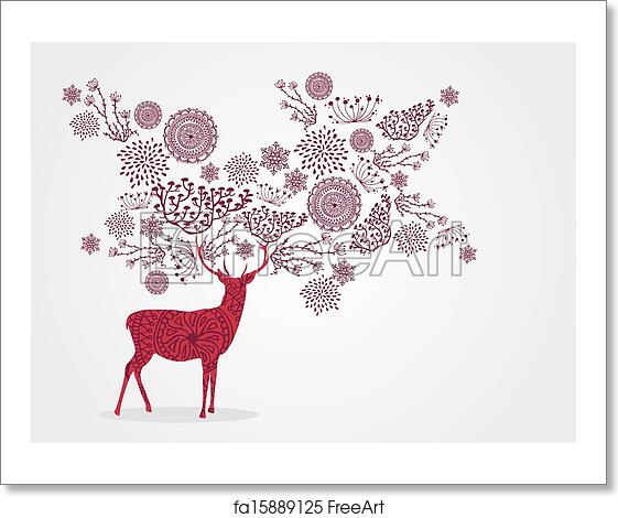 Vintage Merry Christmas.Free Art Print Of Merry Christmas Vintage Reindeer Snowflakes And Winter Elements Background Eps10 Vector File Organized In Layers For Easy Editing