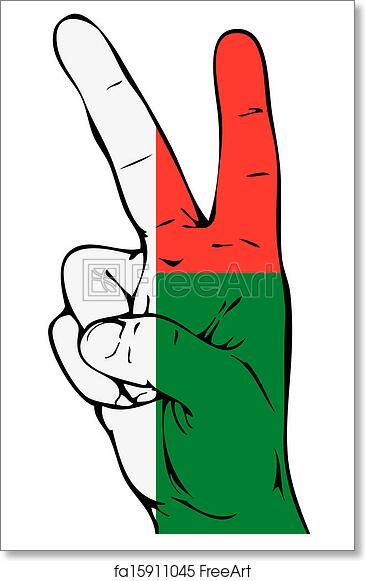 graphic regarding Printable Peace Sign named Free of charge artwork print of Leisure Indicator of the Madagascar flag