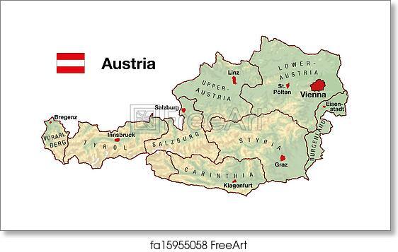 Free Art Print Of Austria Map Topographic Map Of Austria In Europe