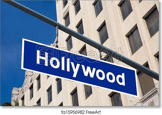 Free Art Print Of Hollywood Sign Illustration Over LA Boulevard