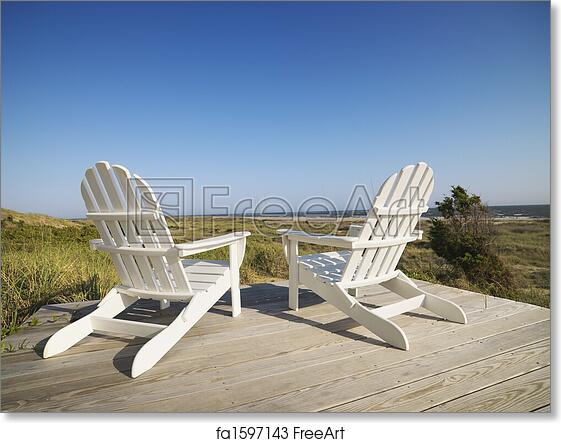 Free Art Print Of Deck Chairs At Beach Two Adirondack Chairs On