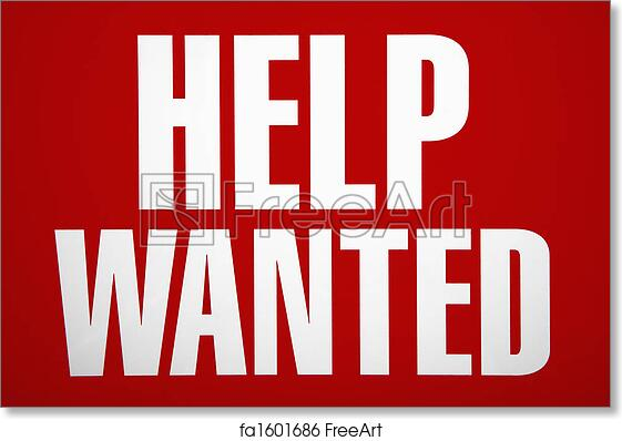 photo about Help Wanted Sign Printable identify No cost artwork print of Assistance sought after signal.