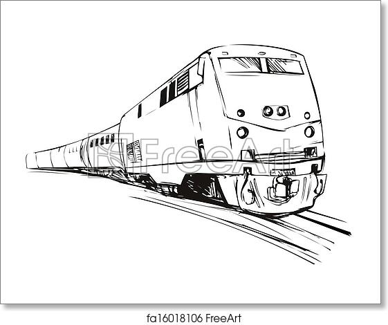 Free art print of Train Sketch Style