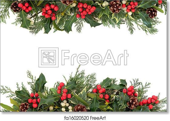 free art print of christmas holly border christmas floral border